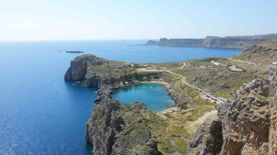 Lindos Beach: St John's bay from the acropolis
