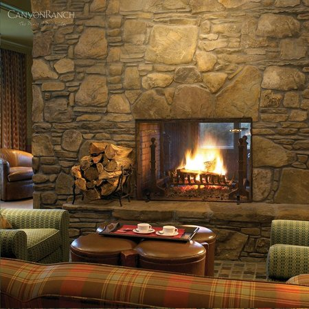 Canyon Ranch in Lenox: looby fireplace