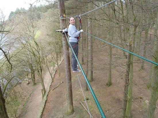 Go Ape at Rivington, Bolton: In Mid air