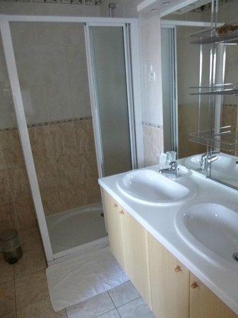 Le Relais de L'Aure: La douche avec 2 lavabos et à gauche séparé par une porte accordéon, les toilettes