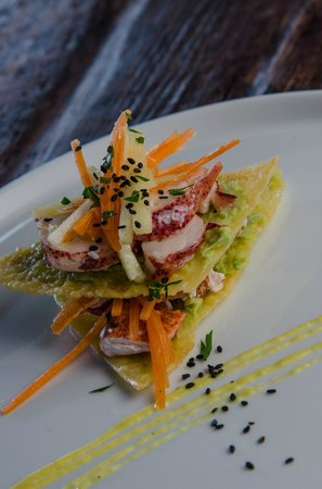 Foster Harris House: Lobster Napoleon with fennel carrot slaw