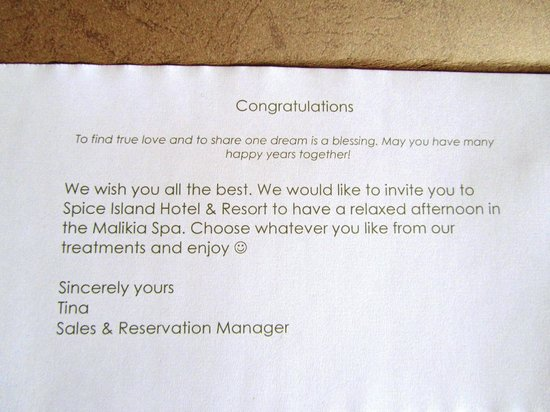 Spice Island Hotel & Resort Sansibar: Lovely welcome note