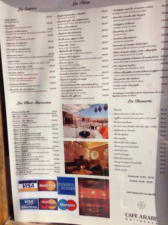 Cafe Arabe: Menu visible in the street