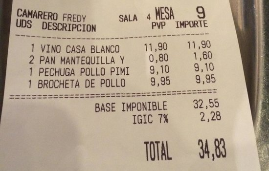 La Cueva del Pulpo : Charged for the free bread, keep well clear of this place, scam artists !!!!