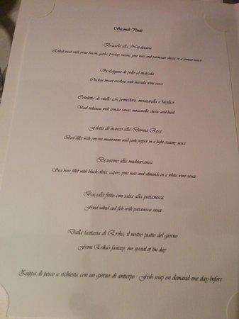 Donna Rosa il Ristorante: Donna Rosa menu