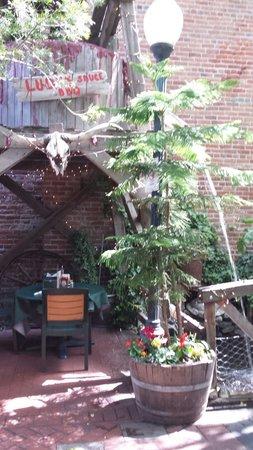 Ludy's Main Street BBQ: Back patio at Ludy's Bar B Que, in Woodland, CA.