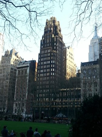 The Bryant Park Hotel: View of the hotel from across the park