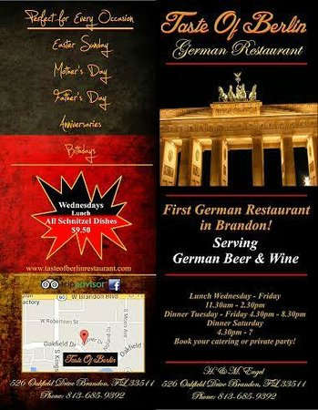 Taste of Berlin German Restaurant: Menu