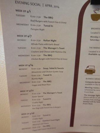 Residence Inn Toronto Markham : evening meals