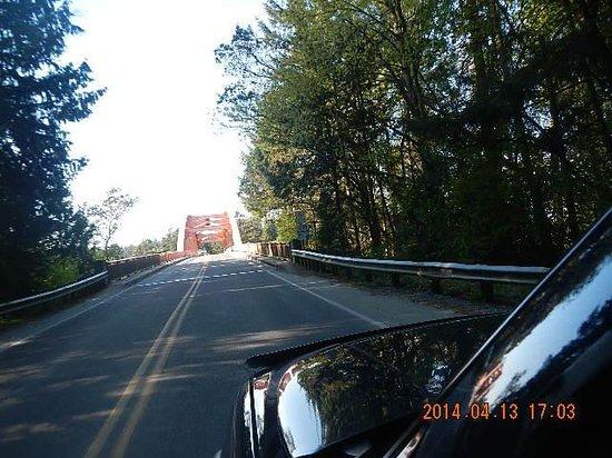 Approaching La Conner Rainbow Bridge 4-13-2014 from La Conner WA