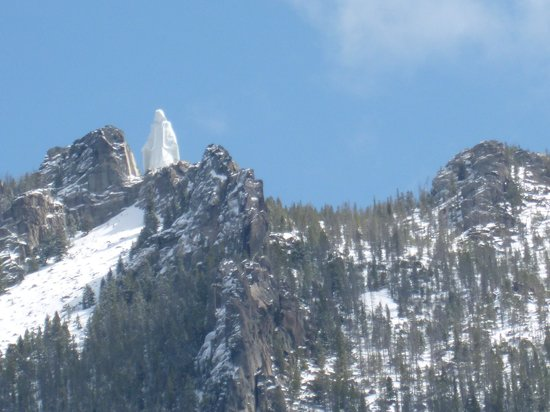 Our Lady of the Rockies: Taken from the car on the freeway