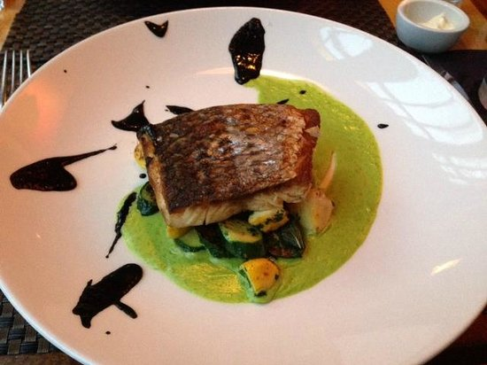 Vermilion Restaurant: Rockfish with Squid Ink Sauce and Roast Squash