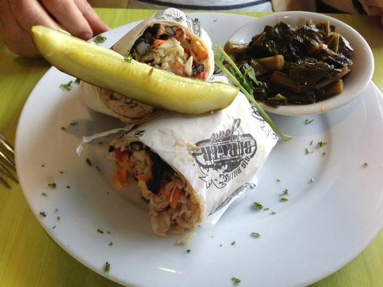 Noisy Oyster Seafood Restaurant: My husband's Mahi Mahi Wrap (Excellent!)