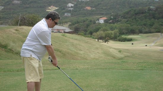 St. Lucia Golf Club: Nice hole...long downhill par 5 to a protected green...let er fly off the tee..wide open!