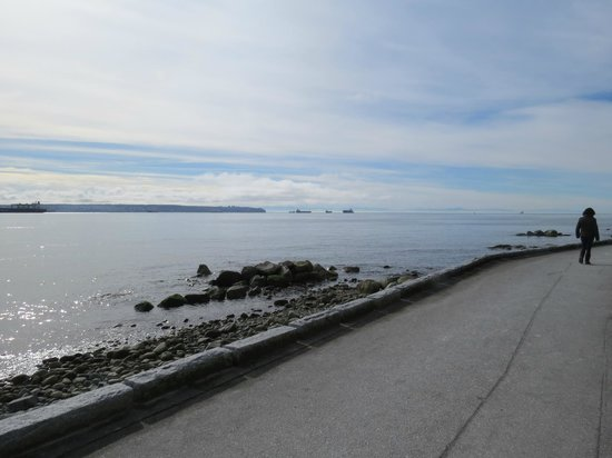 West Vancouver Seawall: Part of the walk and all the freighters in the distance.