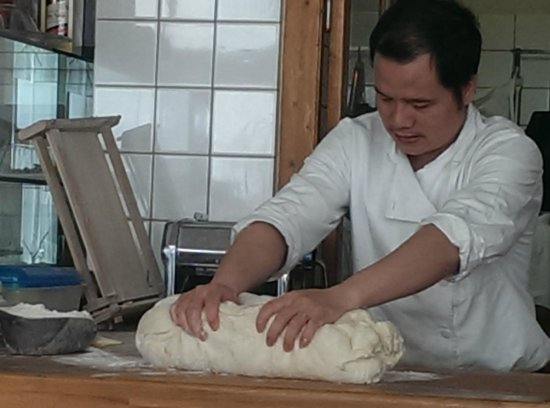 Federico Secondo: Making pasta and bread dough in the dining room