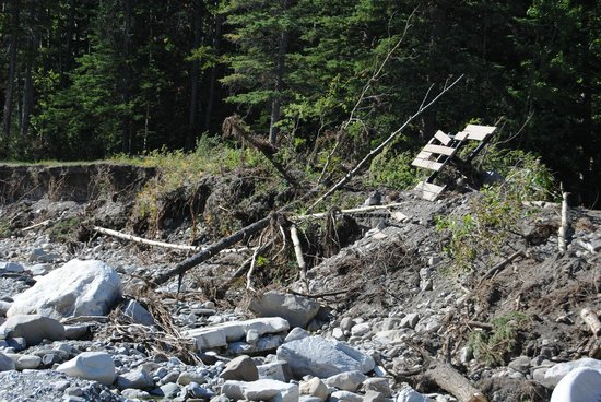 Elbow Falls Provincial Recreation Area : Flood damage - look at the picnic table!!!
