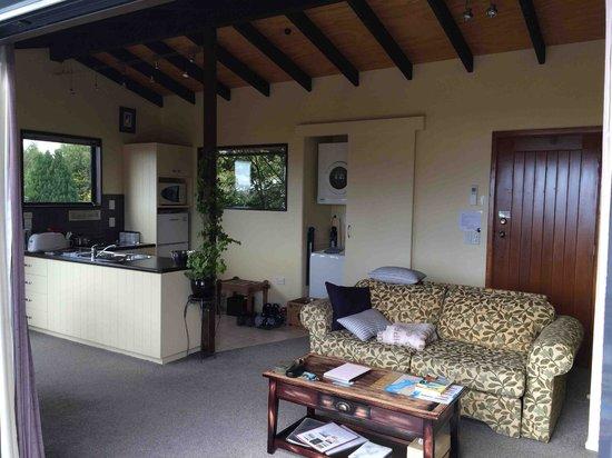 TekapoB2 Lakeview Apartment: Living room and entrance