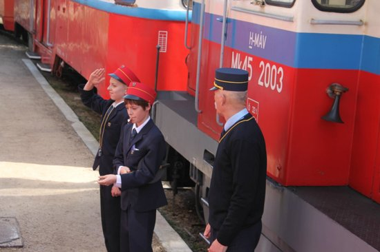 Children's Railway, Budapest: Young officers supervised by adults
