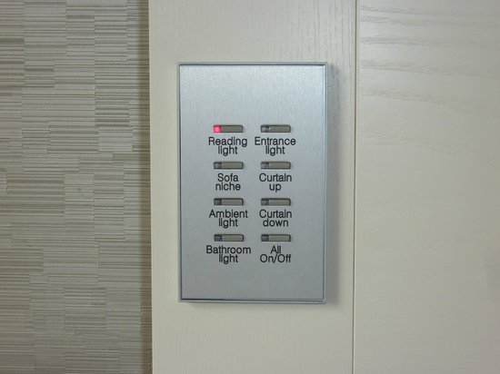 The Hotel - Brussels: Controls for lights and window blind, very classy!