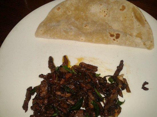 Hotel Ambadi: Beef fry and chapatti