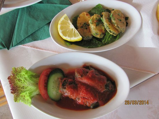 Flames Restaurant and Bar : Koupepia and  fried courgetes
