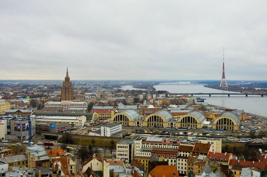 View of Riga from St Peter's Church Tower : Виды