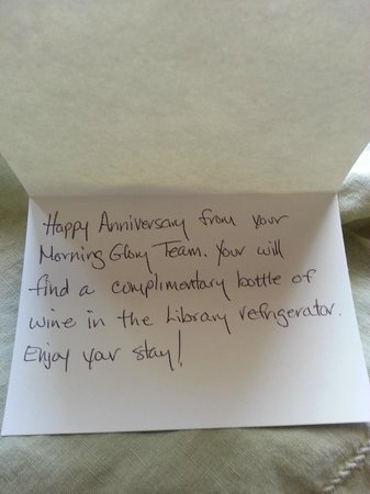 Morning Glory Inn : Anniversary note