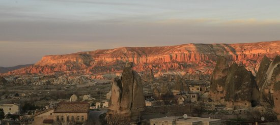 Cappadocia Cave Suites: Sunset view from balcony