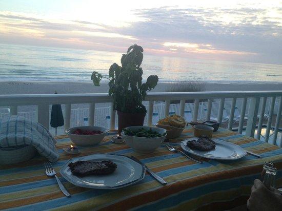 The Diplomat Condominium Beach Resort: Dinner on the balcony!