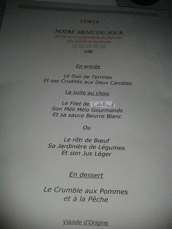 Restaurant Taverne Alsacienne : Menu du jour à 18€