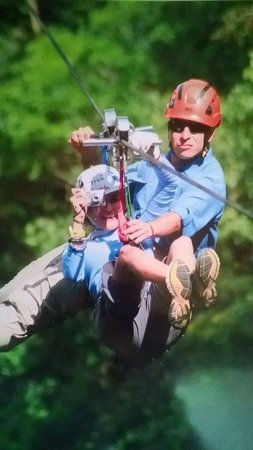 Sky Adventures - Monteverde Park: Ziplining in tandem so I could film the experience...