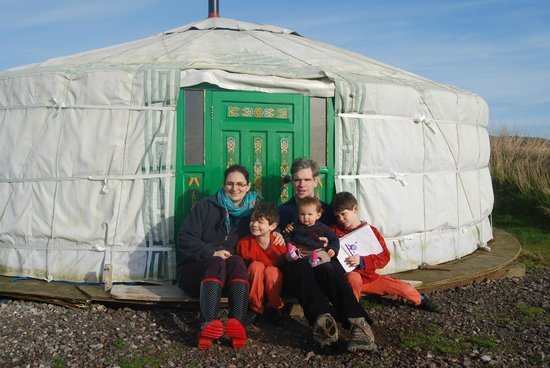 Caalm Camp: outside our lovely yurt after a great nights sleep