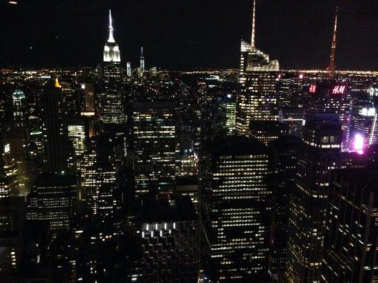 Plate-forme d'observation du GE Building : New York sundown.