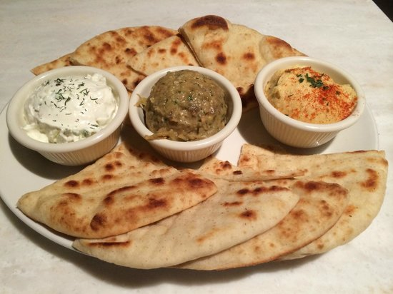 The Greek: Three dips with warm pita bread