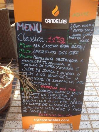 Restaurante Classica Gourmet: Menú en la puerta
