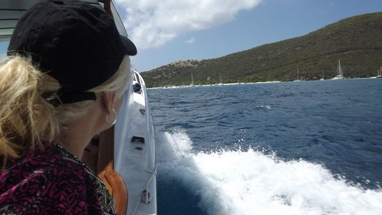 Stormy Petrel & Pirate's Penny Motor Yachts: Approaching Jost Van Dyke.  The Soggy Dollar Bar awaits.