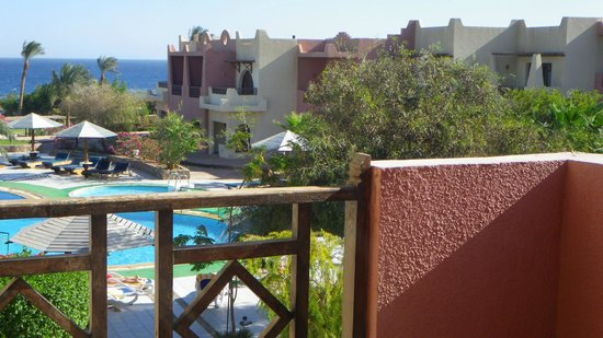 Tropitel Dahab Oasis: one view from our room, overlooking the pool and the mountains.