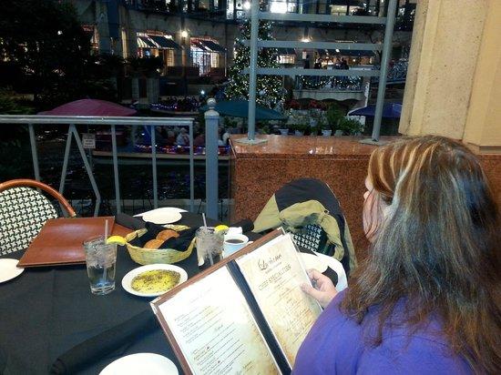Luciano Ristorante Italiano Deciding What To Have While Enjoying The View Best Italian Food On San Antonio Riverwalk