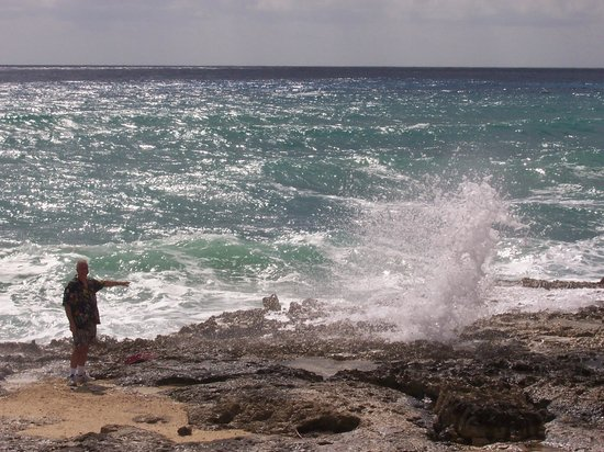 Faro Celerain Ecological Reserve : Wave crashing through blow hole
