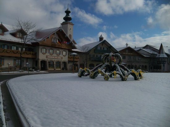 Bavarian Inn Lodge: Easter decorations in the Snow on April 15th
