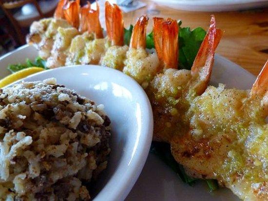 Stingaree Restaurant & Bar : Honey Jalapeño Grilled Shrimp Kabob and Dirty Rice