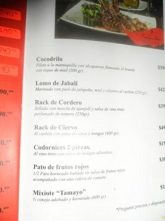 Real San Pedro : menu