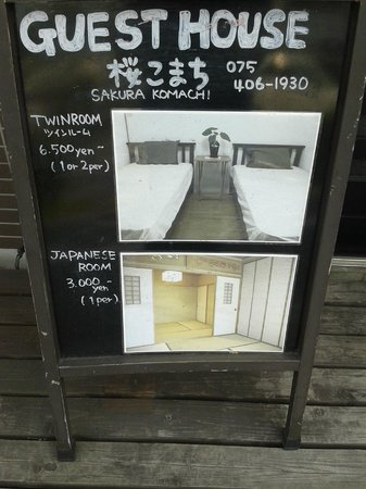 Guest House Sakura Komachi: The sign outside the hotel