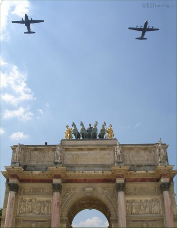 Here you can see two types of army aeroplanes which flew over the Arc de Triomphe du Carrousel