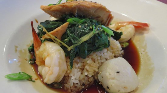 My seafood over rice sitting in soy sauce picture of for Mitchells fish market tampa