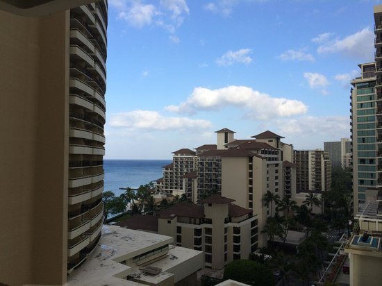 """Sheraton Waikiki : Although we had a """"City View"""" room, we were happy to be able to see a glimpse of the ocean - rm"""