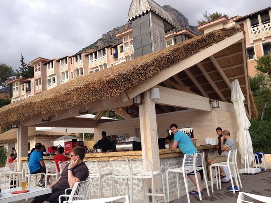 Liberty Hotels Lykia: Beach bar - with new thatched roof. April 2014