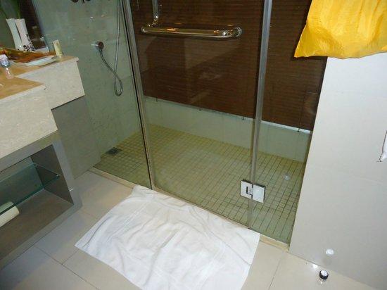 Jinjiang MetroPolo Hotel Classiq Shanghai Peoples' Square : Douche mal conçue: l'eau se répand partout.