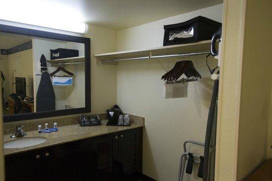 "Fairfield Inn Anaheim Resort: Themed Room Vanity & ""Closet"" outside of bathroom"